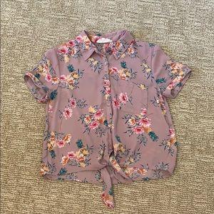 Lavender tie front blouse XS